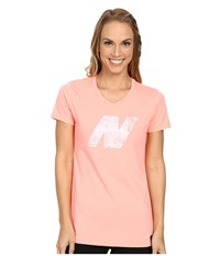 New Balance N Logo Tee Cosmic Coral Women's Short Sleeve Pullover Multi