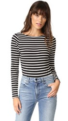 Laveer Striped Long Sleeve Scoop Bodysuit Black White