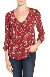 Hinge Women's Peasant Blouse Red Sun Winding Floral