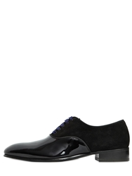 Max Verre Suede And Patent Leather Oxford Shoes Midnight Black