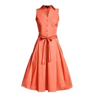 Rumour London Venice Satin Cotton Belted Flared Dress Yellow Orange