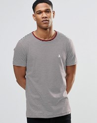 Pretty Green Striped T Shirt In Burgundy Burgun Red