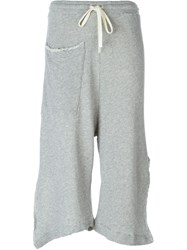 Lost And Found Side Slit Cropped Track Pants Grey