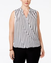Inc International Concepts Plus Size Striped Surplice Blouse Only At Macy's Black White Stripe