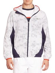 Lacoste Honeycomb Zip Front Hoodie White Multi