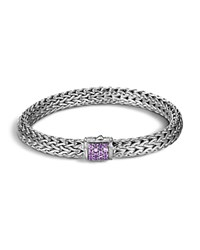 John Hardy Classic Chain Sterling Silver Medium Bracelet With Amethyst Purple Silver
