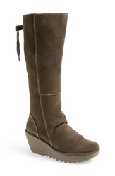 'Yust' Knee High Platform Wedge Boot Women Sludge Suede