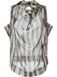 Vivienne Westwood Anglomania Striped Cowl Neck Blouse Nude And Neutrals
