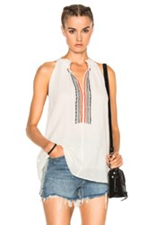 Apiece Apart Embroidered Asientos Sweep Top In White