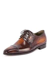 Berluti Perforated Lace Up Derby Shoe Tobacco