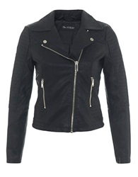 Miss Selfridge Faux Leather Moto Jacket Black