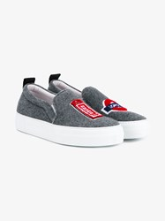 Joshua Sanders London Slip On Shoes Grey Red White Blue Black