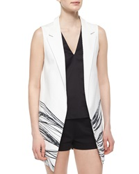 Alexis Aguilar Wave Print Long Vest Black White
