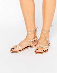 Asos Fonda Leather Lace Up Flat Sandals Nude Beige