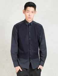 Still Good Black Navy L S Layered Button Up Shirt