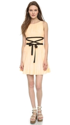 Band Of Outsiders Pleated Mini Dress Nude