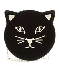 Charlotte Olympia Pussycat Embroidered Velvet Shoulder Bag Black