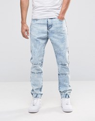 Liquor And Poker Bleached Ripped Drop Crotch Slim Jean Blue