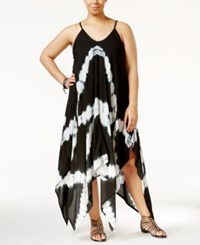 Raviya Plus Size Tie Dye Handkerchief Hem Cover Up Dress Women's Swimsuit Black