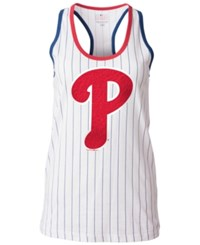 5Th And Ocean Women's Philadelphia Phillies Pinstripe Glitter Tank Top White