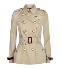 Burberry Fairlie Short Technical Trench Coat Female Beige