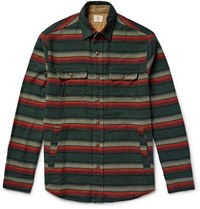 Faherty Suede Elbow Patch Striped Cotton Flannel Shirt Forest Green