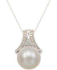 Macy's Cultured South Sea Pearl 13Mm And Diamond 1 3 Ct. T.W. Pendant Necklace In 14K White Gold