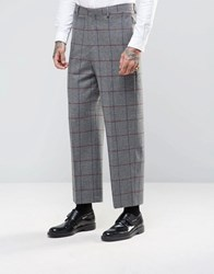 Asos Wide Leg Suit Trousers In Window Pane Check Grey