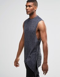 Asos Knit Jersey Longline Sleeveless T Shirt With Strap Detail And Oil Wash Navy