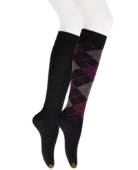 Gold Toe Women's 2 Pk. Argyle Knee High Socks Black
