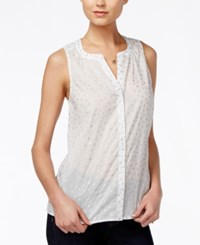 Maison Jules Sheer Foil Print Top Only At Macy's Washed White