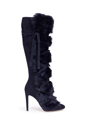 Gianvito Rossi 'Moritz' Fur Crisscross Tie Suede Knee High Boots Blue