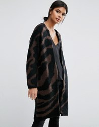Selected Femme Knit Cardigan In Zebra Print Chocolate Torte Comb Brown