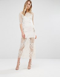 For Love And Lemons Gracey Ivory Crochet Midi Dress Cream