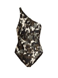 Norma Kamali Mio One Shoulder Swimsuit Khaki Multi