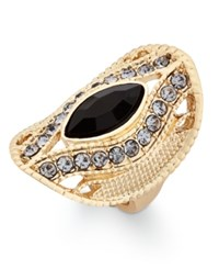 Inc International Concepts Gold Tone Black Stone Contoured Oval Ring Only At Macy's