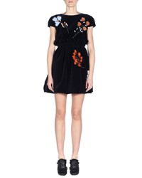 Fendi Cap Sleeve Mini Dress W Fur Flowers Lapis Lazuli Lapis Blue