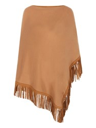 Mela Loves London Western Faux Suede Fringed Poncho Brown