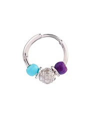Elise Dray Diamond Agate And Turquoise Mini Rock Earring