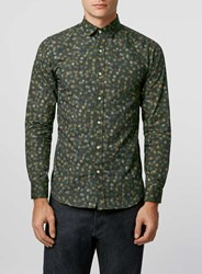 Topman Selected Homme Green Polka Dot Shirt