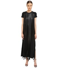 Neil Barrett Fringed Leather Jersey Long Fringed Eco Leather Crepe Stretch Dress Black