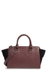 Sole Society 'Bridgette' Winged Faux Leather And Faux Suede Satchel Purple Eggplant Black