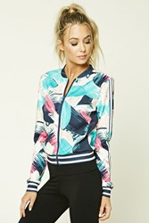 Forever 21 Active Abstract Bomber Jacket Green Blue