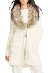 Women's Lauren Ralph Lauren Cardigan With Faux Fur Shawl Collar