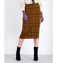 Dries Van Noten Michaella Checked Knitted Pencil Skirt Mustard Check
