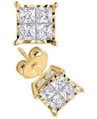 Trumiracle Princess Cut Diamond Stud Earrings 1 Ct. T.W. In 14K White Gold Or 14K Gold Yellow Gold