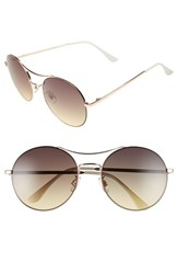Junior Women's Bp. 58Mm Oversize Round Sunglasses White Gold