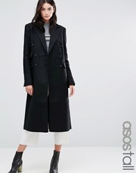 Asos Tall Double Breasted Slim Maxi Coat Black