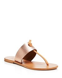 Joie Nice Metallic Embossed Thong Sandals Rosegold
