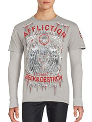Affliction Graphic Skull Shirt Silver